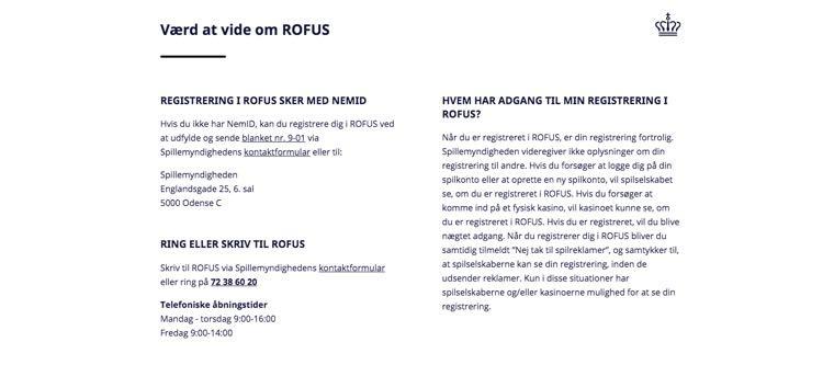 Værd at vide om ROFUS